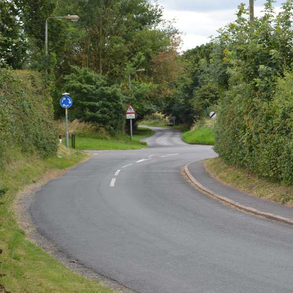 Cemetery Road leading to the 'Town End' mini roundabout