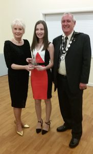 Councillor Baroness Liz Redfern and, then Mayor, Don Johnson present Lucy Button with the Don Johnson Award 2017