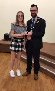 Then Mayor, Paul McCartan, presents Beth Hall with the Sporting Achievement Award 2018