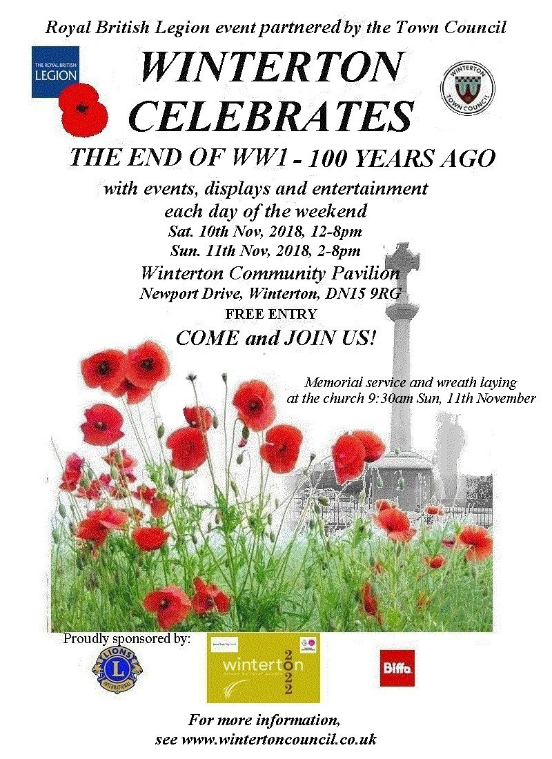 Poster for Winterton's End of WW1 celebrations